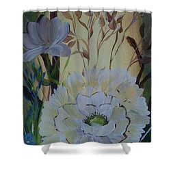 Wild Rose In The Forest Shower Curtain by Donna Brown