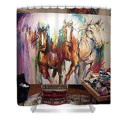 Wild Wild Horses Shower Curtain by Heather Roddy