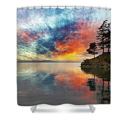 Wildcat Cove In Washington State At Sunset Shower Curtain by David Gn