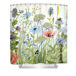 Shower Curtain featuring the painting Wildflower And Bees by Laurie Rohner