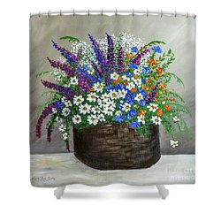 Shower Curtain featuring the painting  Wildflower Basket Acrylic Painting A61318 by Mas Art Studio