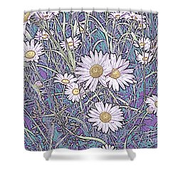 Wildflower Daisies In Field Of Purple And Teal Shower Curtain