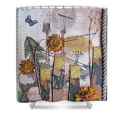 Shower Curtain featuring the mixed media Wildflower Honey by Sandy McIntire