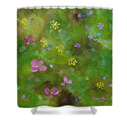 Shower Curtain featuring the painting Wildflower Support by Judith Rhue