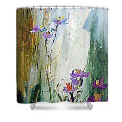 Wildflowers And Bees Oil Painting Shower Curtain by Ginette Callaway