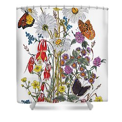 Wildflowers And Butterflies Of The Valley Shower Curtain