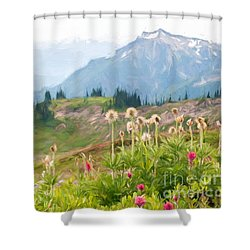 Wildflowers And The Tatoosh Shower Curtain by Sharon Seaward