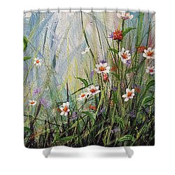Wildflowers Shower Curtain by Dee Carpenter