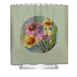 Shower Curtain featuring the painting Wildflowers by Mary Wolf