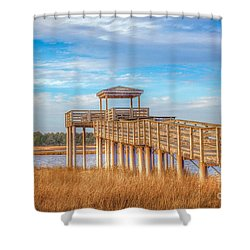 Shower Curtain featuring the photograph Wildlife Viewing Pier by Marion Johnson