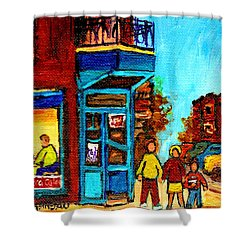 Wilensky's Lunch Counter With School Bus Montreal Street Scene Shower Curtain by Carole Spandau