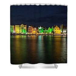 Shower Curtain featuring the photograph Willemstad And Queen Emma Bridge At Night by Adam Romanowicz