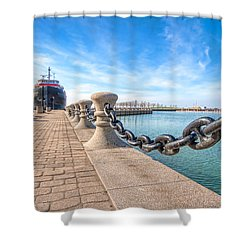 William G. Mather At Harbor Shower Curtain by Brent Durken