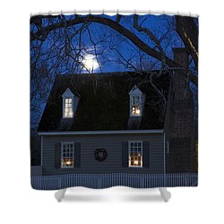 Williamsburg House In Moonlight Shower Curtain by Sally Weigand