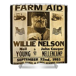 Willie Nelson Neil Young 1985 Farm Aid Poster Shower Curtain by John Stephens