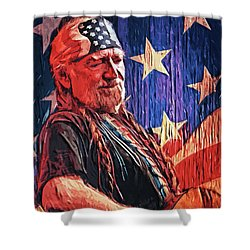 Willie Nelson Shower Curtain by Taylan Apukovska