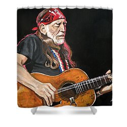 Willie Nelson Shower Curtain by Tom Carlton