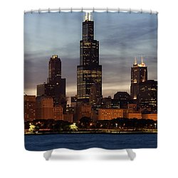 Willis Tower At Dusk Aka Sears Tower Shower Curtain by Adam Romanowicz