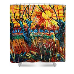 Willows At Sunset - Study Of Vincent Van Gogh Shower Curtain by Karon Melillo DeVega