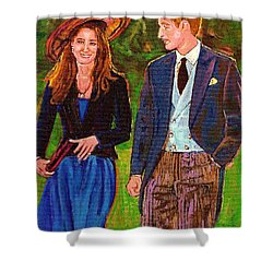 Wills And Kate The Royal Couple Shower Curtain by Carole Spandau