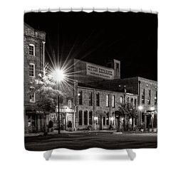 Wilmington Cotton Exchange At Night In Black And White Shower Curtain