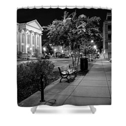 Wilmington Sidewalk At Night In Black And White Shower Curtain