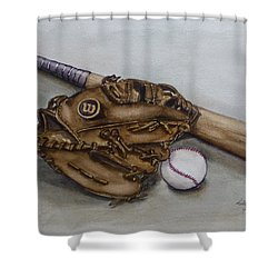 Wilson Baseball Glove And Bat Shower Curtain