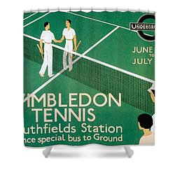 Wimbledon Tennis Southfield Station - London Underground - Retro Travel Poster - Vintage Poster Shower Curtain
