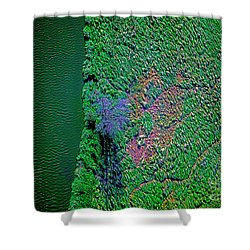 Wind Blown Marsh Tree And Water Shower Curtain