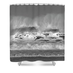 Shower Curtain featuring the photograph Wind Blown Waves by Nicholas Burningham