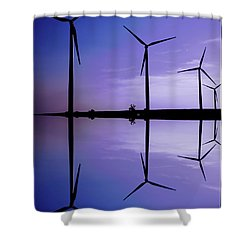 Wind Energy Turbines At Dusk Shower Curtain by Bob Pardue