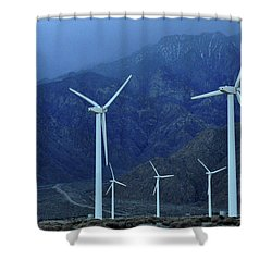 Wind Power Shower Curtain by Diane Lent