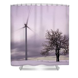 Wind Power Station, Ore Mountains, Czech Republic Shower Curtain