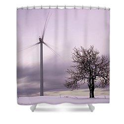Wind Power Station, Ore Mountains, Czech Republic Shower Curtain