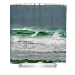 Wind Swept Waves Shower Curtain