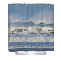 Shower Curtain featuring the photograph Wind Swept Waves by Nicholas Burningham