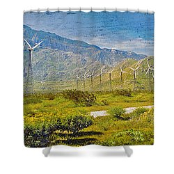 Shower Curtain featuring the photograph Wind Turbine Farm Palm Springs Ca by David Zanzinger