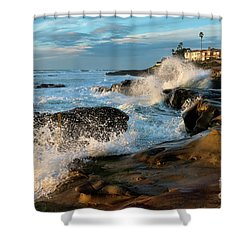 Windansea Beach At High Tide Shower Curtain by Eddie Yerkish