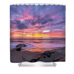 Windansea Beach Sunset Shower Curtain
