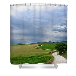 Winding Road To A Destination In A Tuscany Landscape Shower Curtain