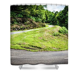 Winding Road With Sharp Bend Going Up The Mountain Shower Curtain by Semmick Photo