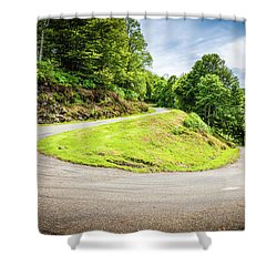Winding Road With Sharp Curve Going Up The Mountain Shower Curtain by Semmick Photo