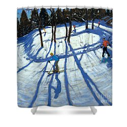 Winding Trail Morzine Shower Curtain by Andrew Macara