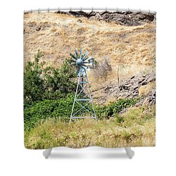 Windmill Aerator For Ponds And Lakes Shower Curtain