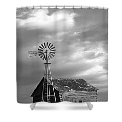 Windmill And Barn At Sunset Shower Curtain