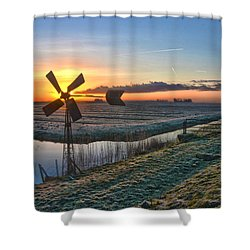 Windmill At Sunrise Shower Curtain