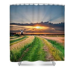 Windmill At Sunset Shower Curtain by Meirion Matthias