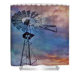 Shower Curtain featuring the photograph Windmill At Sunset by Susan Candelario