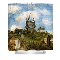 Windmill In Farm Shower Curtain by Sumit Mehndiratta