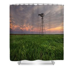 Shower Curtain featuring the photograph Windmill Mammatus by Aaron J Groen